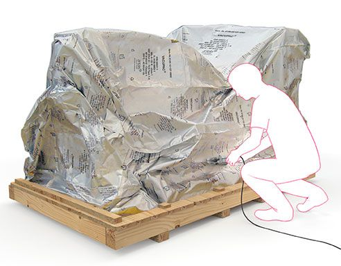VACUPAC Aluminium-Verbundfolie zum Korrosionsschutz unförmiger Transportwaren